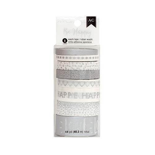American Crafts Be Happy Everyday Silver Washi Tape Spools - Assorted Sizes and Designs - 40 Yards, 8 Rolls