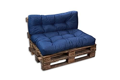 Cojines/colchón de paleta para sofá, sillón, asiento para paleta euro, asiento y respaldo (azul, juego 1 respaldo 120 x 40 cm + 1 asiento 120 x 80 cm)