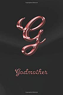 Godmother: Dot Journal | Letter G Personalized First Name Personal Dotted Bullet Grid Pages Writing Diary & Notebook | Glossy Black Marble Rose Gold ... Writers for Journaling Note Taking & Drawing