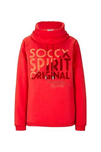 SOCCX Damen Sweatshirt mit Frottee Logo und hohem Kragen