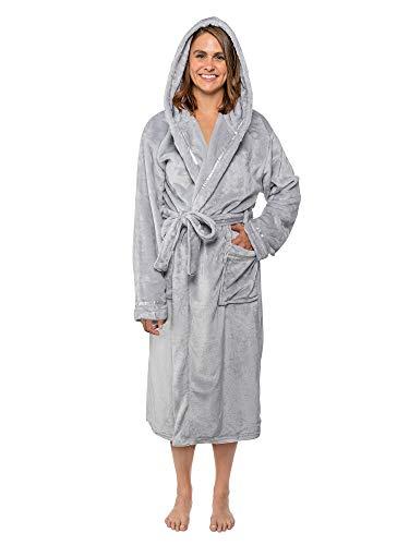 Women Fleece Robe with Hood,Satin Trim|Luxurious Soft Plush Bathrobe,Light Grey,L/XL