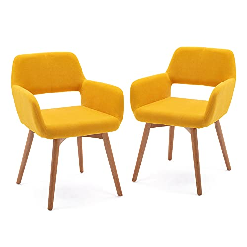 WisHom Small Modern Living Dining Room Accent Arm Chairs Fabric Mid-Century Upholstered Side Seat Club Guest with Solid Wood Legs (2, Yellow)