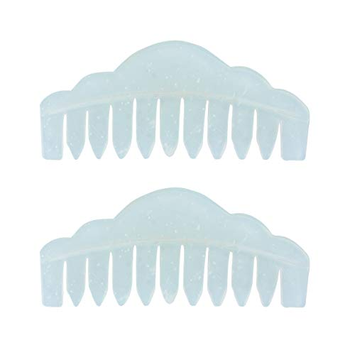 HEALIFTY 2Pcs Jade Stone Hair Comb Wave Design Head Therapy Massager Comb Scalp Massager
