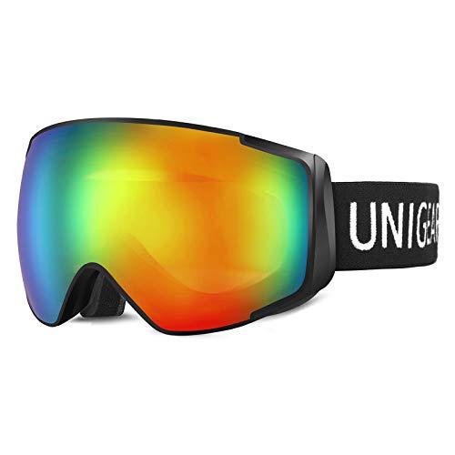 Unigear Maschere da Sci, Maschere da Snowboard OTG UV400 Produzione Doppie Lenti Casco Antiappannamento Occhiali da Neve Antivento Compatibili per Bambini Donna Uomo Genitore-Figlio