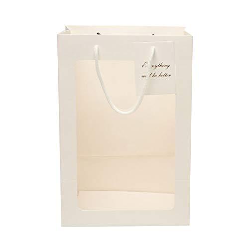 Unicoco Blumen-Geschenke Tasche Papierhand Blumen-Tasche mit transparentem Fenster-Geschenk-Paket Behältern für Hochzeit Beuter Großer