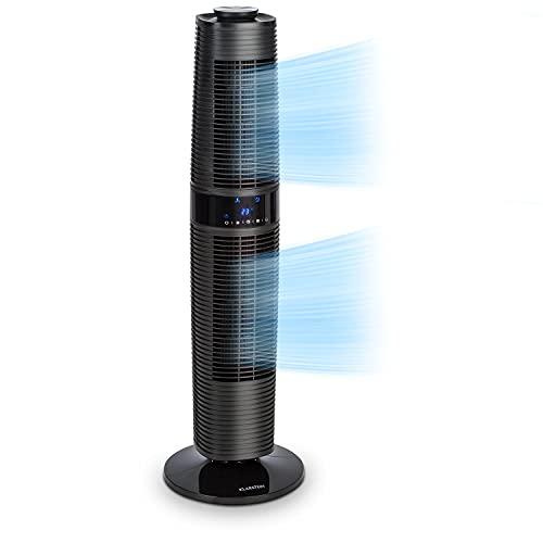 KLARSTEIN Twister - Ventilador Vertical, Ahorro energía con 45 W de Potencia, Corriente de 343 m³ h, Oscilación automática de 80° y Manual de 360°, Autoapagado Programable, 3 Niveles, 4 Modos, Negro