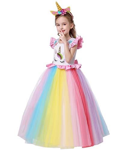 FMYFWY Niña Vestido de Unicornio Princesa Cumpleaños Disfraz de Carnaval Halloween Navidad Fiesta de Cosplay para Chicas Bautizo Comunión Boda Velada Ropa con Diadema Multicolor 6-7