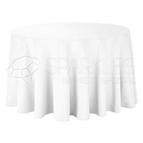 """Sparkles Make It Special 5-pcs 120"""" Inch Round Polyester Cloth Fabric Linen Tablecloth - Wedding Reception Restaurant Banquet Party - Machine Washable - White"""