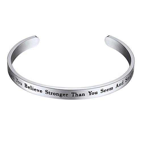 PROSTEEL You Are Braver Than You Believe Bracciale Aperto Regolabile Incisione di Frase Incoraggiante Positiva Acciaio Inossidabile Argento