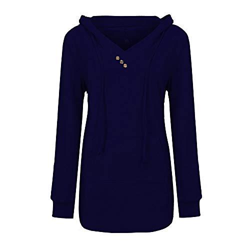 MEIbax Damen V - Neck Button Leichter Pullover mit Kapuze Sweatshirt mit Taschenbluse Lange Hoodie Casual Langarm Tunika