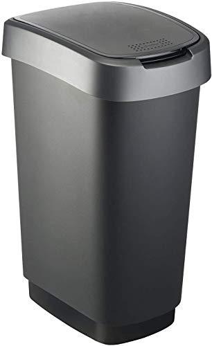 Rotho Twist Portarifiuti 50l con coperchio, può essere usato come coperchio a battente o a cerniera, Plastica PP senza BPA, Nero/Grigio(Antracite), 50l 40.1 x 29.8 x 60.2 cm