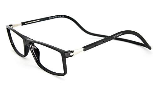 NOWAVE Occhiali da lettura Anti luce blu | Montatura leggera e moderna | Occhiali Presbiti con chiusura calamita | 1.00 Nero