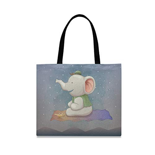 Cute Elephants Flying Carpets Reusable Shopping Tote Grocery Foldable Bag Portable Storage Shoulder Bags Handbags for Travel Women Girls