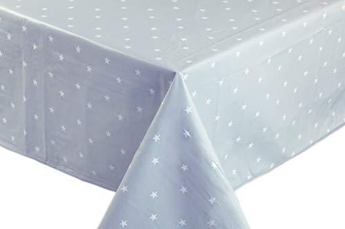 Mantel de hule, rectangular 140 x 200cm Estrellas, gris claro