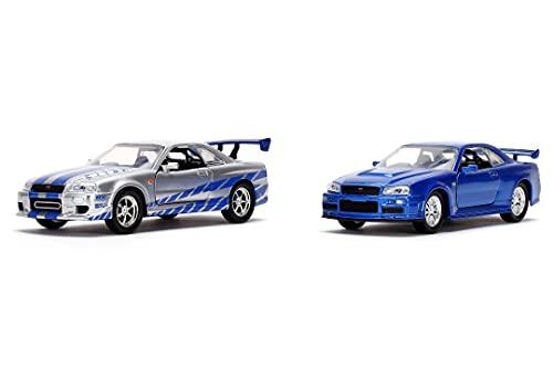 Jada Toys 253204004 Fast & Furious Twin Set, 2 x 2002 Nissan Skyline in Silber & blau, Modellauto, Spielzeugauto, Türen zum Öffnen, Maßstab 1:32, Silber/blau