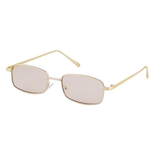 ADEWU Platz Sonnenbrille Mode Retro Brille für Damen Herren (Champagner Linse + Gold Rahmen)