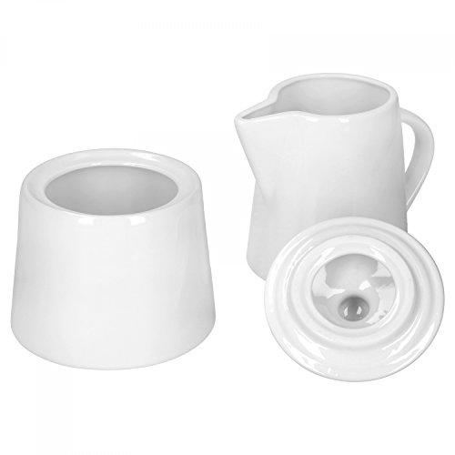 Van Well Zuckerdose + Milchkännchen Lilli, 2-TLG. Set, Kaffeetafel Zubehör, Zuckerbehälter mit Deckel + Milchgießer, Zuckerdöschen, Milchkanne, edles Markenporzellan, glänzend, klassisch weiß