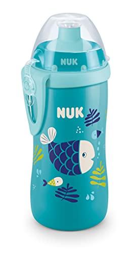 NUK Junior Cup bottiglietta con effetto camaleonte   36+ mesi   Cangiante   Beccuccio morbido push-pull anti-goccia   Clip e coperchio protettivo   Senza BPA   300 ml   Pesce (blu)