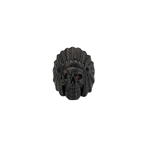 Men's Stainless Steel Black Plated Chief Indian Skull Head Matte Ring Size 12