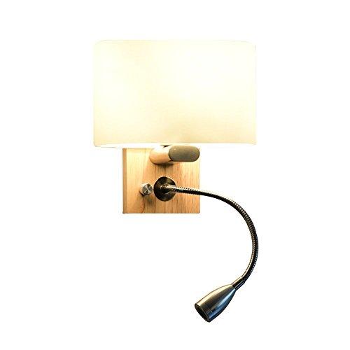 CASEWIND Nord Europa Modern Holz und Glas Wandlampe Wandleuchte mit Verstellbaren Lesearm und LED Birne, Ohne E27 Birne Elegant für Schlafzimmer