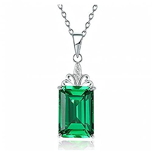 N/A Collar Mujer Verde Cristal Cuadrado Colgante Regalo para Ella