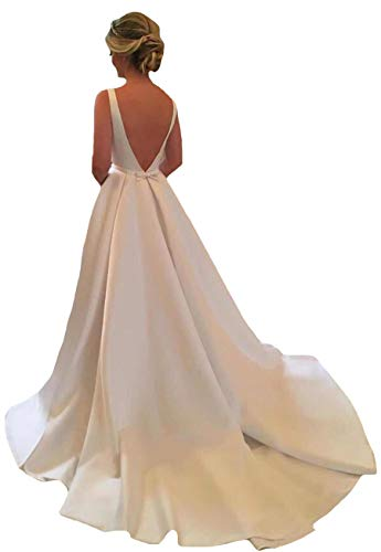 VinBridal Women's Backless Satin Long Bridal Gown Wedding Dress with Train White 14