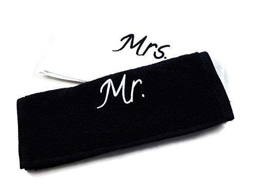 Charming Boxes Hochzeits-Handtücher Set - 2 Stück, 30x50cm, Baumwolle, tolles Hochzeitsgeschenk für das Brautpaar/Hochzeitspaar, Handtuch, Geschenk, Verlobung (Mr. & Mrs.)