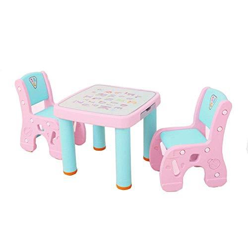 Office Life Juego de mesa y sillas para niños Juego de mesa y silla para niños Mesa de estudio Juego de escritorio Mesa y silla para sus hijos Incluye 2 sillas (Color: Amarillo, Tamaño: 61x51 / 59x