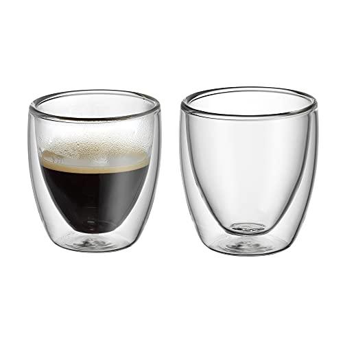 WMF Kult doppelwandige Espressotassen Glas Set 2-teilig, doppelwandige Gläser 80ml, Schwebeeffekt, Thermogläser, hitzebeständiges Espresso Glas