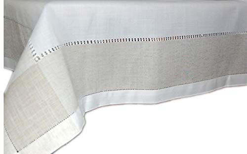 Klassische Tischdecke 130x225 cm Leinenoptik Hohlsaum Wollweiß Natur Schlichte Eleganz (Tafeltuch 130x225 cm rechteckig)