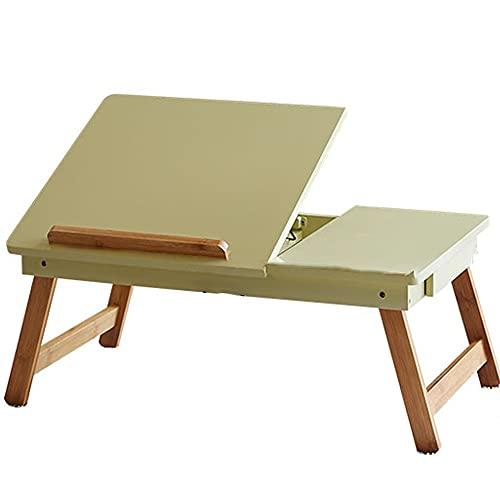 Plegable para Ordenador PortáTil,cajón Ajuste De 3 Marchas Retirable Bandeja Desayuno Soporte Ajustable del La Tableta Cuaderno con (Color : Green)