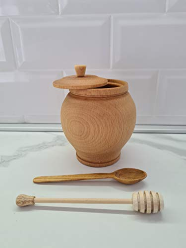 Beech Wood Honey Jar Set with Honey Dipper and Spoon 500 ml (17 fl oz) - Wood Honey Pot - Honey Jar Set - Made in Europe (Model #2)