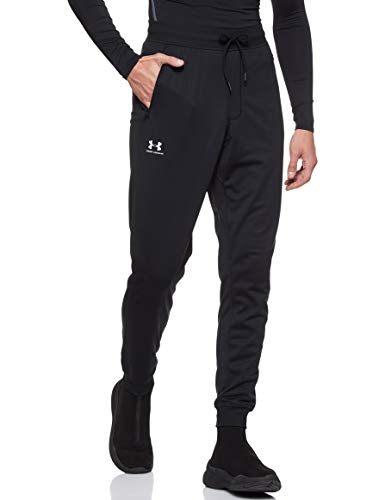 Under Armour Sportstyle Tricot Jogger, Warm and Comfortable Fleece Tracksuit Bottoms, Jogger Bottoms with Pockets Men, Black (Black/White (001)), X-Large