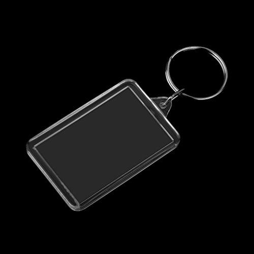 20個入り写真入り額縁スプリットリングキーホルダー写真キーチェーン7サイズ選べる-長方形3.4*5.2cm