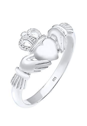 Elli Anillos Corona del Corazón de las Damas Claddagh en Plata Esterlina 925