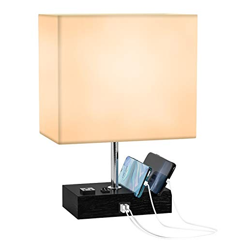 USB Table Lamp, Deeplite Dual USB Beside Desk Lamp with 2 Phone Sthands Modern Fabric Shade, Suitable for Bedroom, Living Room