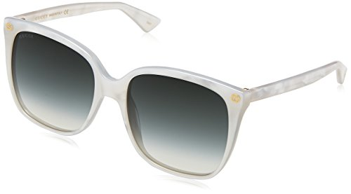 Gucci dames GG0022S 004 zonnebril, wit (wit/groen), 57