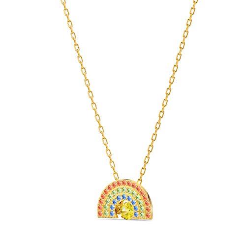Swarovski Collana Sparkling Dance Rainbow, Multicolore Chiaro, Placcato Color Oro