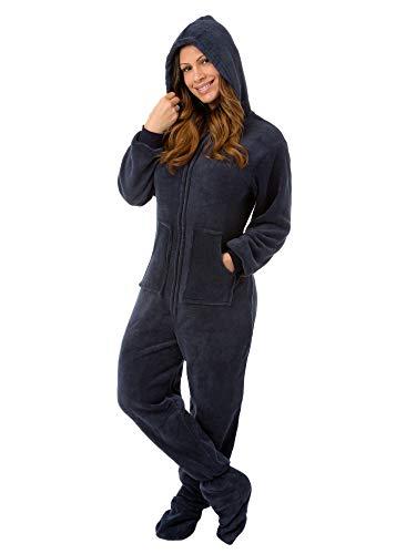 Big Feet Pjs Hoodie Footed Navy Plush Pajamas w/Drop Seat (S)