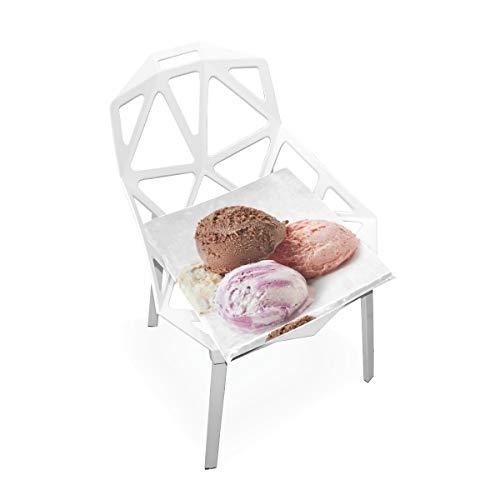 La Fraise Rose de Boule de crème glacée d'été Fait sur Commande Douce Chaise carrée antidérapante Molle de Mousse de mémoire Coussins s'assied pour Cuisine à Maison de Salle à Manger 16 x 16 Pouces