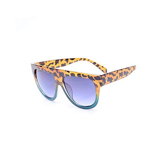 Sportbrillen, Angeln Golfbrille,Flat Top Oversized Square Sunglasses Women Gradient NEW Summer Style Classic Women Sun Glasses Female Big Square Eyewear UV400 Leopard blue