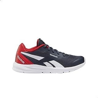Reebok Rush Runner 2.0 Mesh-Upper Contrast Heel Counter Side-Stripe Lace-Up Sneakers for Kids - Collegiate Navy & Primal R...