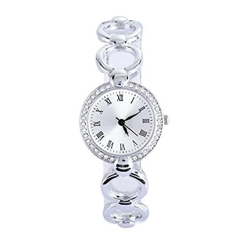 Aiyrchin Mujeres Reloj analógico Relojes de Pulsera Movimiento con los Relojes de Cadena de la aleación del brazal de Cristal con Acentos Pila de botón (Plata)