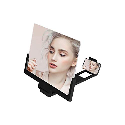 Head MountLighted Magnifying Glasses, 14 inch Mobile Phone Screen Magnifying Glass Folding Video Screen Amplifier For Celphone Holder Mobile Phone Screen Magnifier (Color : Black) for Hobbies,Reading,