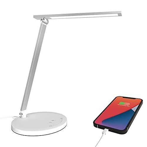 Lámpara Escritorio LED, luz suave para el cuidado de los ojos, 5 Modos de Iluminación 10 Niveles de brillo, Lámpara de mesa Recargable con Puerto de Carga Tipo C utilizan comúnmente para Para Leer