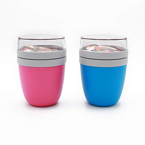 Mepal 2 x Lunchpot Ellipse, 500ml, Polypropyleen (PP), PCTG, Aqua/Pink, 11 x 11 x 15 cm