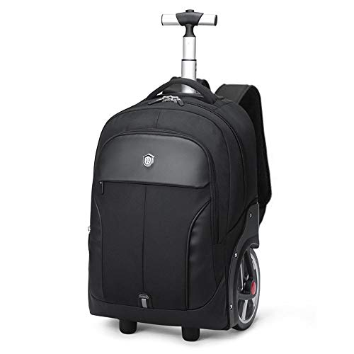 DC Wesley Business Trolley Case Big Wheel Trolley Backpack Outdoor Travel Bag Schoolbag Waterproof Large Capacity Backpack Backpack (Color : Black, Size : 18in)