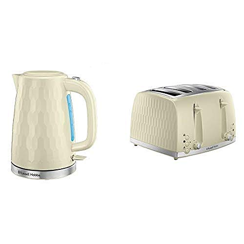 Russell Hobbs Honeycomb Kettle and 4 Slice Toaster, Cream