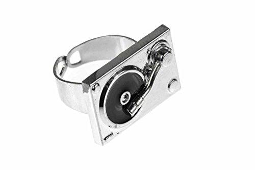 Miniblings Plattenspieler Musik DJ Ring - Plattenspieler Musik DJ - Handmade Modeschmuck I Fingerring mit Motiv I verstellbar one Size