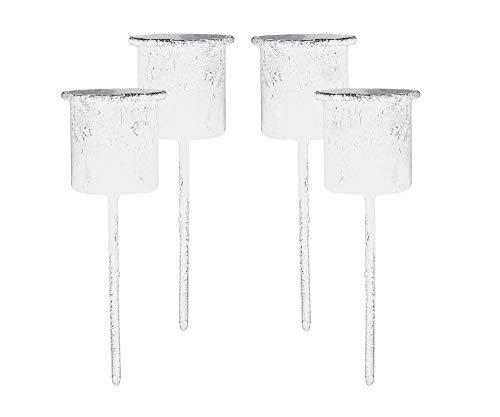 4er Set Kerzenhalter weiß mit kurzem Spieß - Für Stabkerzen 22 mm Durchmesser - Nostalgisches Shabby-Design - Für Kränze, Tischgestecke & Blumentöpfe - Ideal als Deko für Weihnachten & Wohnung